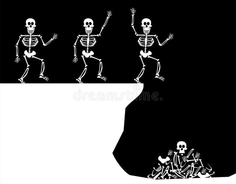 Saluti di Halloween. Salto di scheletro illustrazione vettoriale