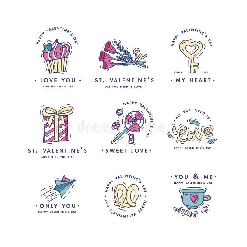 Saluti felici di tipografia di giorno di biglietti di S. Valentino Citazioni di AMORE Schizzi l'illustrazione lineare di stile pe royalty illustrazione gratis