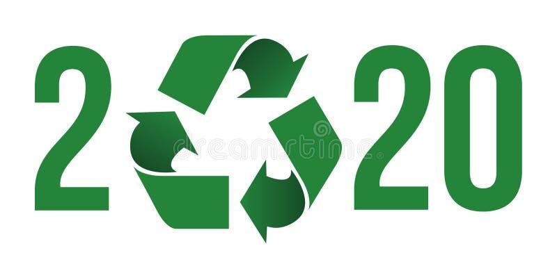 Saluti 2020 sul concetto di protezione ambientale e di riciclaggio dei rifiuti royalty illustrazione gratis