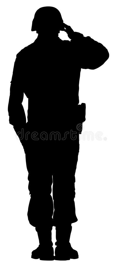 Saluting army soldier`s silhouette isolated on white background. Memorial day, Veteran`s day, 4th of july. Saluting army soldier`s silhouette isolated on white stock illustration