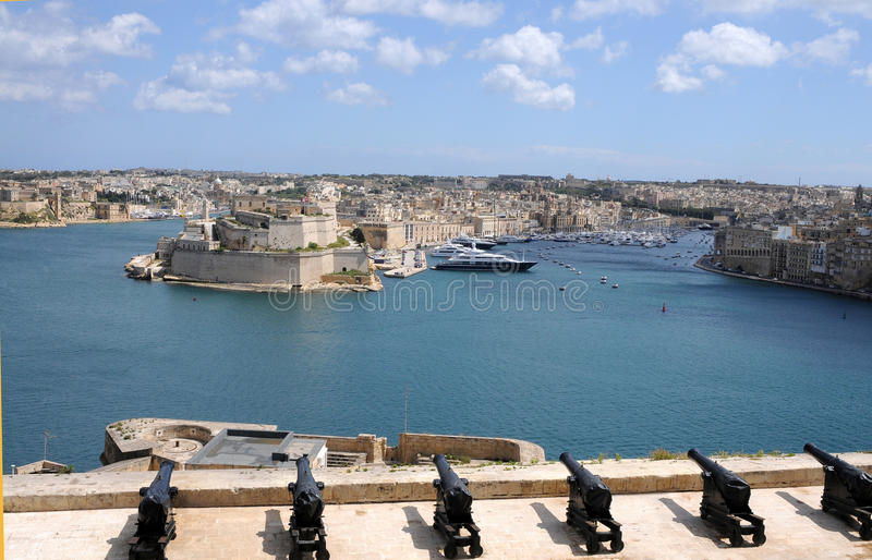 Saluting battery. In the grand harbour of Valletta in front of Fort St. Angelo stock photo