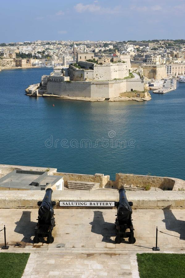Saluting battery Malta Grand Harbour stock photo