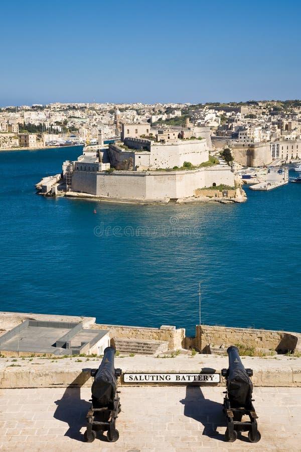 Saluting Battery, Valletta stock photo