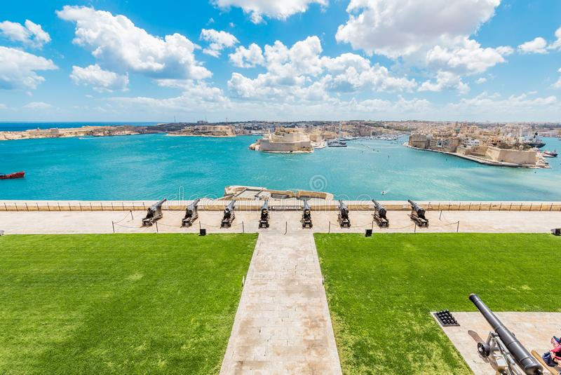 Saluting battery in Valletta bay in Malta. It is an artillery battery in Valletta, Malta. It was constructed in the 16th century by the Order of Saint John royalty free stock photography