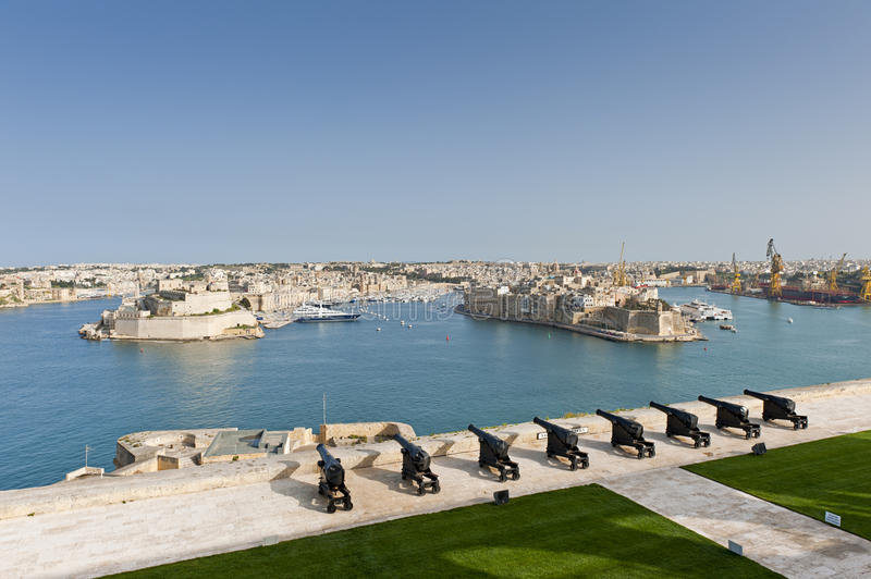 Saluting Battery in Valletta, Malta royalty free stock image