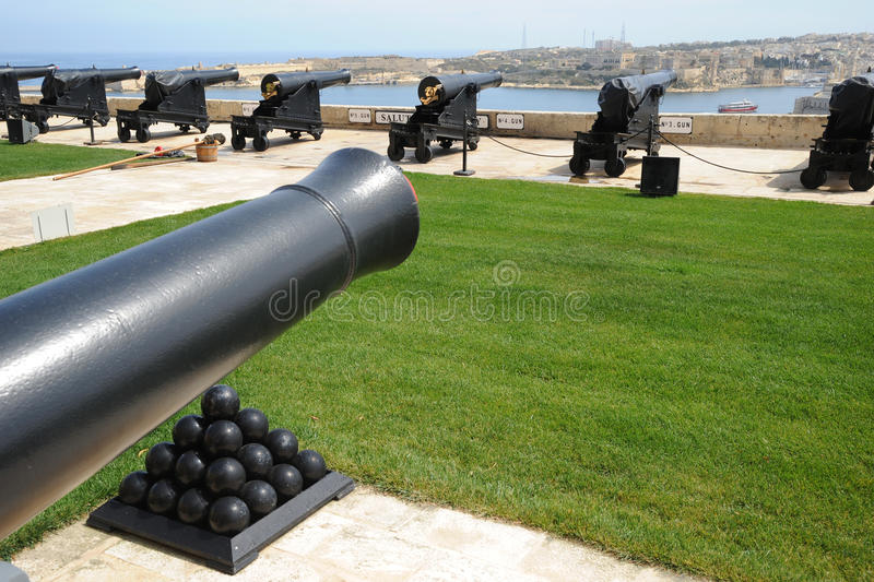 Saluting battery guns Malta royalty free stock images