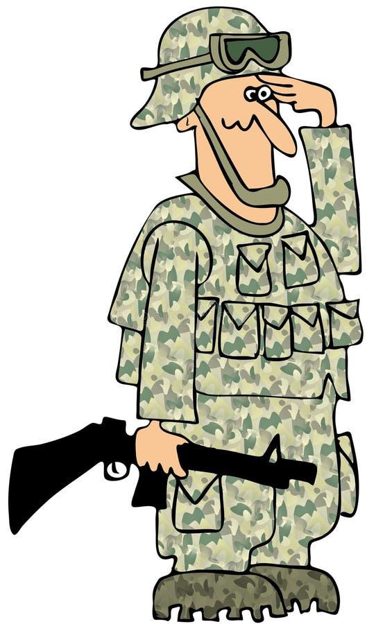 Download Saluting Marine stock illustration. Image of camouflage - 26978348
