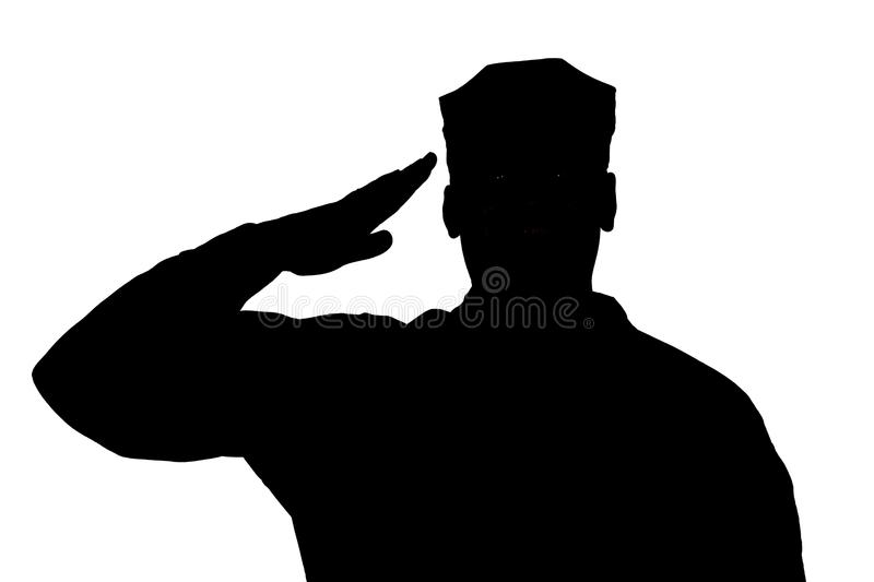 Saluting soldier silhouette on white background isolated. Shoulder silhouette of saluting army soldier in utility cover or cap isolated on white background royalty free stock photo
