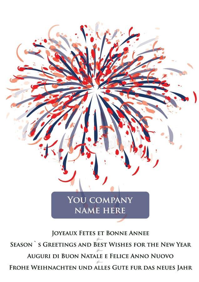 Saluto 2010 di nuovo anno felice con i fuochi d'artificio illustrazione di stock