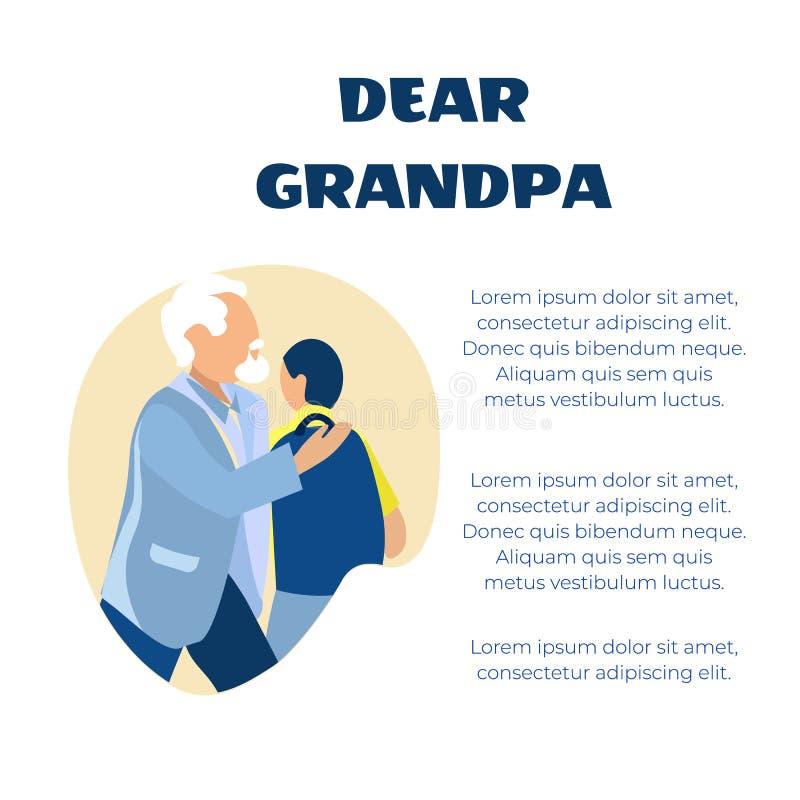 Saluto caro di Grandfa nel cartello del fumetto di verso illustrazione di stock