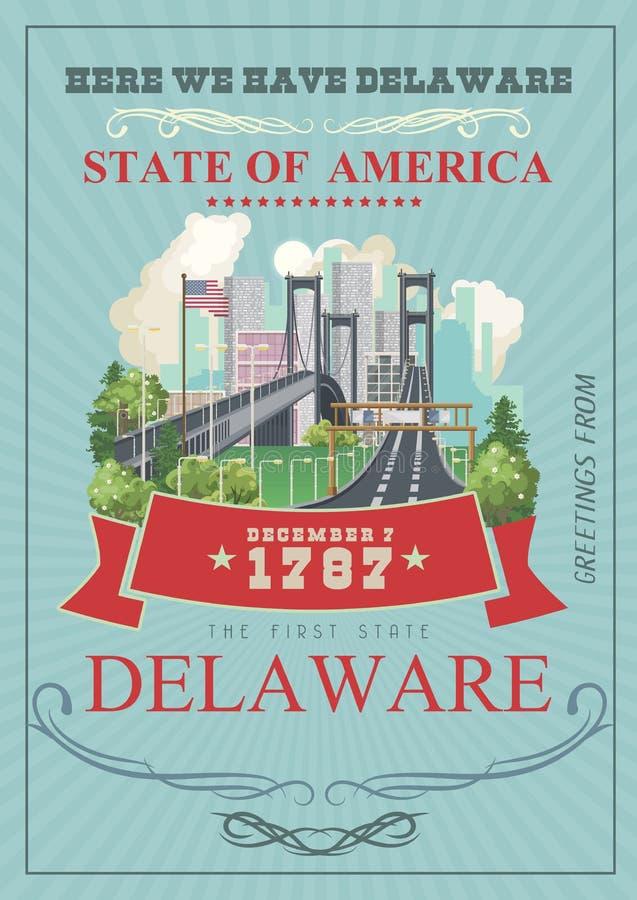 Saluto dall'illustrazione di vettore del Delaware con i paesaggi dettagliati variopinti Il primo stato illustrazione vettoriale
