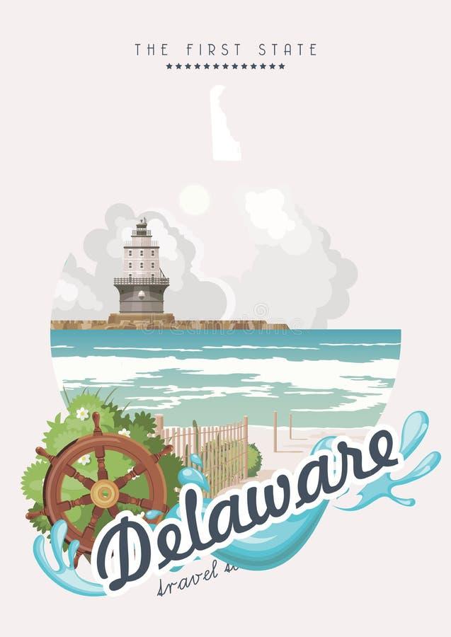 Saluto dalla carta di vettore del Delaware con i paesaggi dettagliati variopinti Il primo stato royalty illustrazione gratis