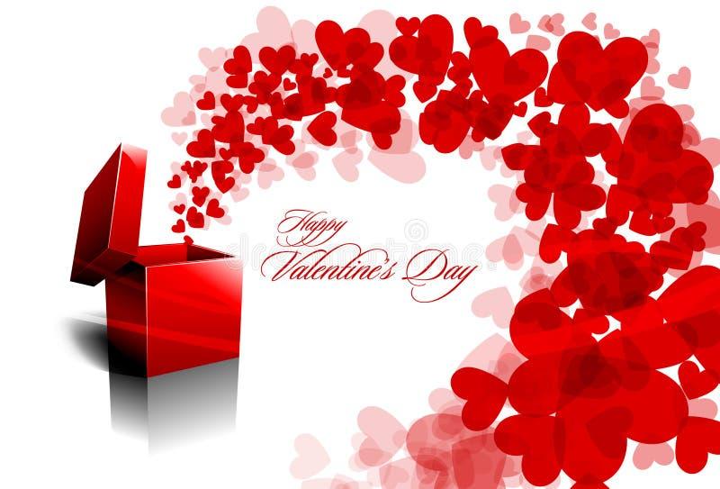 Saluto del biglietto di S. Valentino con i cuori di diffusione illustrazione di stock