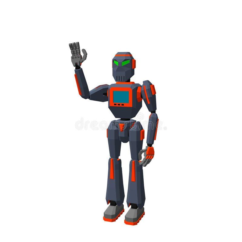 Saluto del carattere del robot Isolato su priorità bassa bianca 3d Vecto illustrazione vettoriale