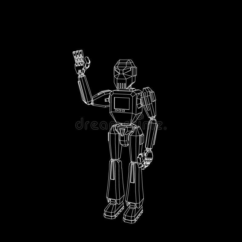 Saluto del carattere del robot Isolato su priorità bassa nera Vettore o royalty illustrazione gratis