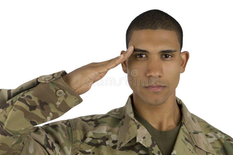 Saluto del soldato dell'afroamericano fotografia stock
