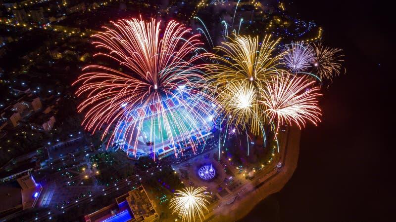 Saluto di Chabarovsk in onore di Victory Day la vista dalla cima immagine stock libera da diritti