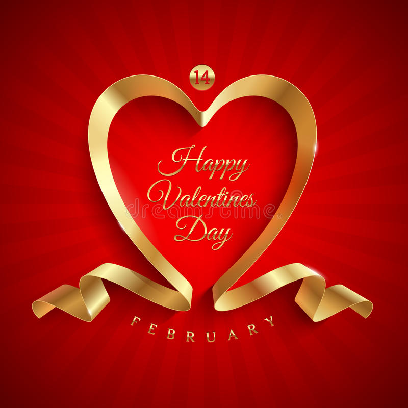 Saluto di giorno di biglietti di S. Valentino con il nastro dorato royalty illustrazione gratis
