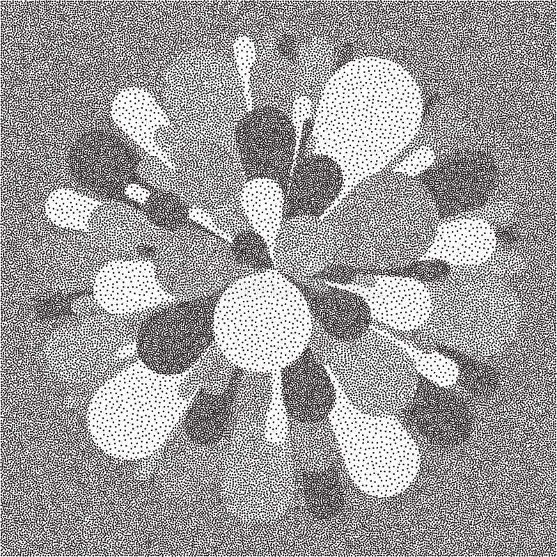 Saluto e fuochi d'artificio Progettazione granulare nera e gialla del dotwork Modello di puntinismo Illustrazione punteggiata di  royalty illustrazione gratis