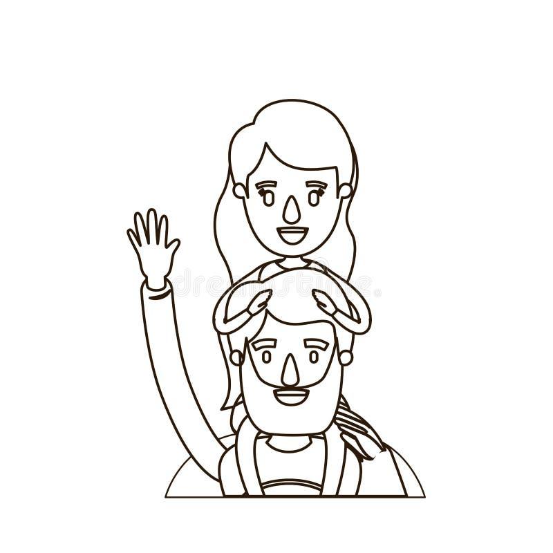 Saluto eccellente dell'eroe del papà del mezzo ente di caricatura di contorno di schizzo con la ragazza sulla sua parte posterior illustrazione vettoriale