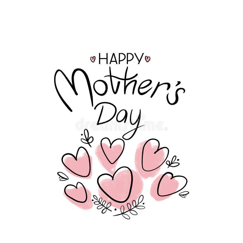 Saluto felice della scrittura di festa della Mamma con i cuori rosa e le foglie grafiche su fondo bianco illustrazione vettoriale