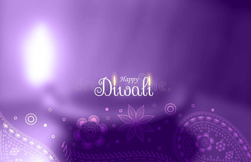 Saluto felice porpora di diwali con il diya vago illustrazione vettoriale