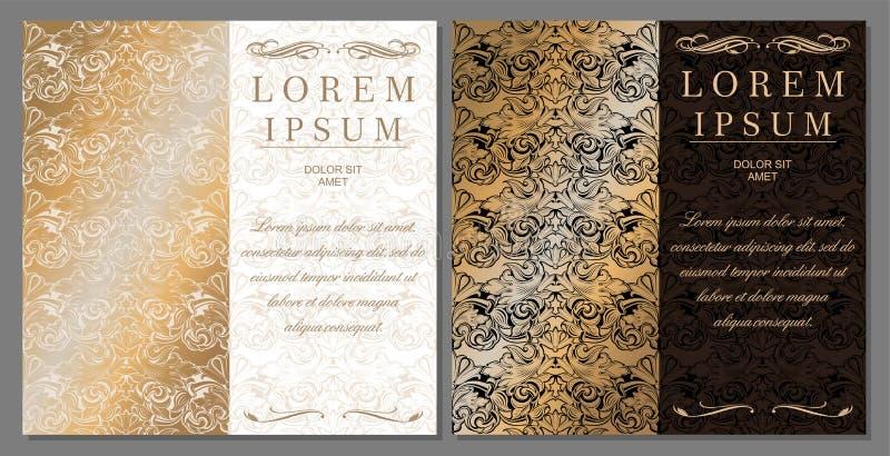 Saluto, invito, nozze, carta nello stile dell'annata nelle tonalità dell'oro illustrazione di stock