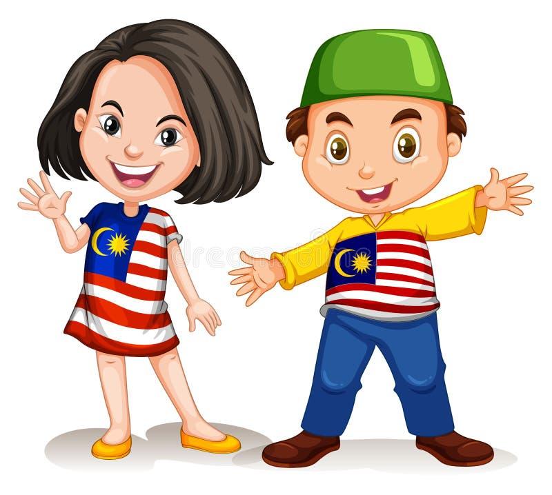 Saluto malese del ragazzo e della ragazza royalty illustrazione gratis