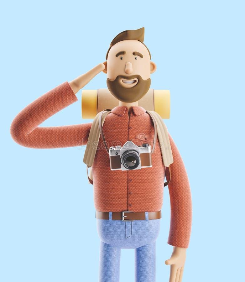 Saluts de touristes de personnage de dessin animé illustration 3D illustration libre de droits