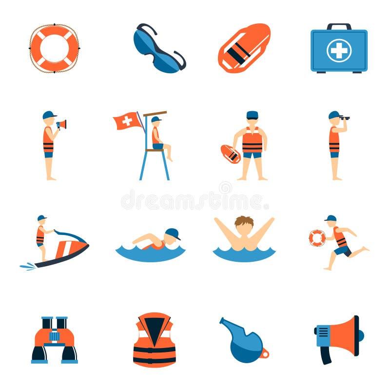 Salva-vidas Icons Set ilustração do vetor