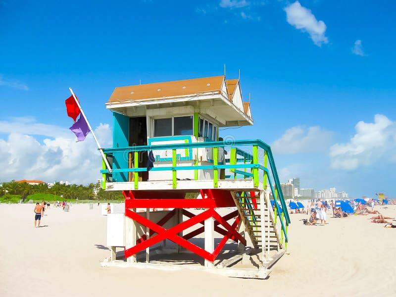 Salva-vidas Tower na praia sul, Miami Beach, Florida fotografia de stock royalty free