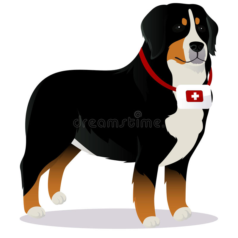 Salvación del perro de la montaña de Bernes stock de ilustración