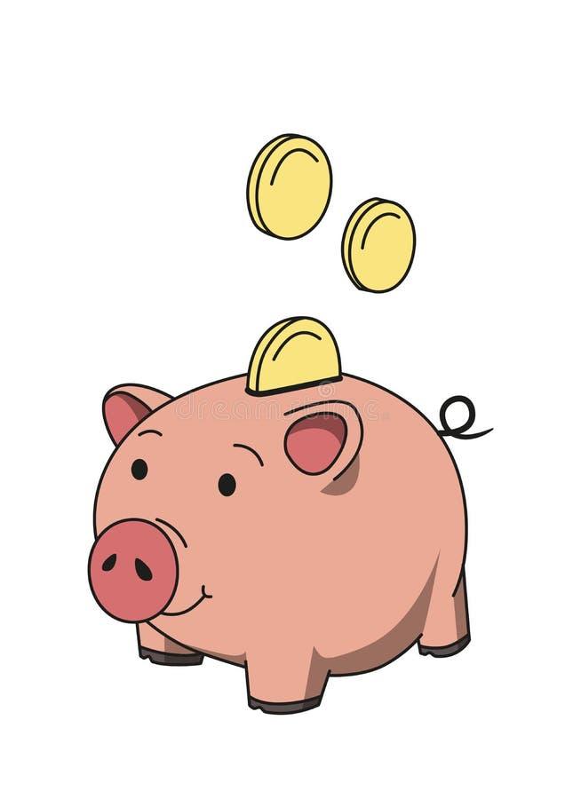 Salvadanaio rosa di porcellino con le monete Concetto dei soldi di risparmio Linea illustrazione colorata di vettore Isolato su p illustrazione vettoriale