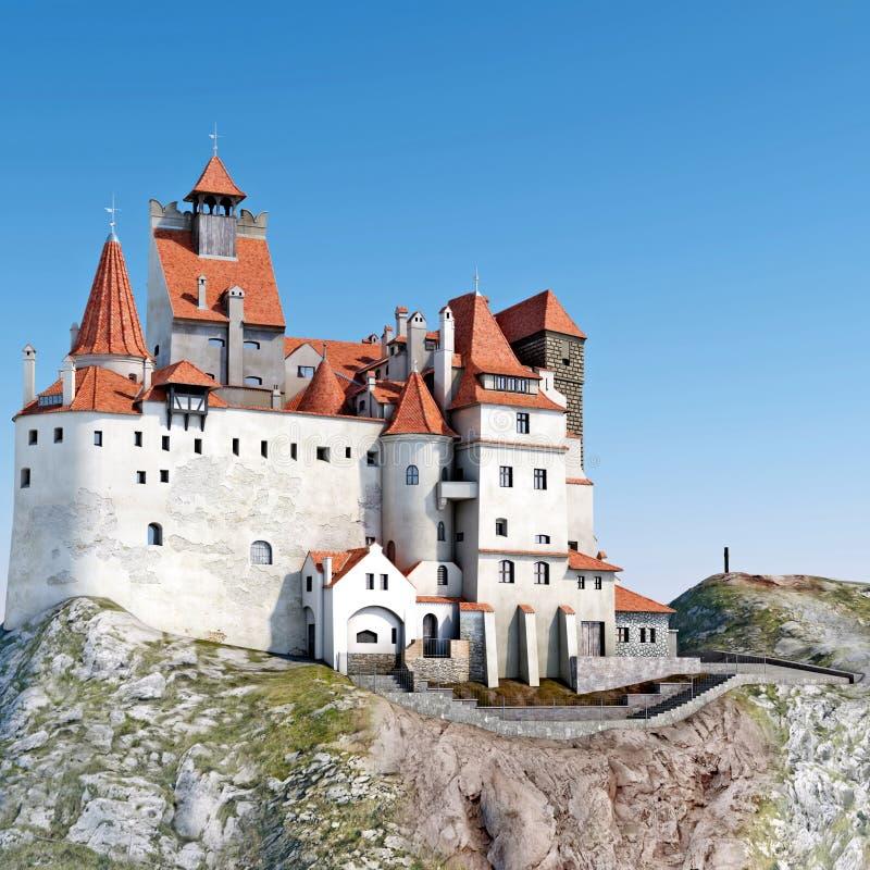 Salvado del castillo de Dracula Castillo medieval encima del ejemplo de la colina 3D ilustración del vector