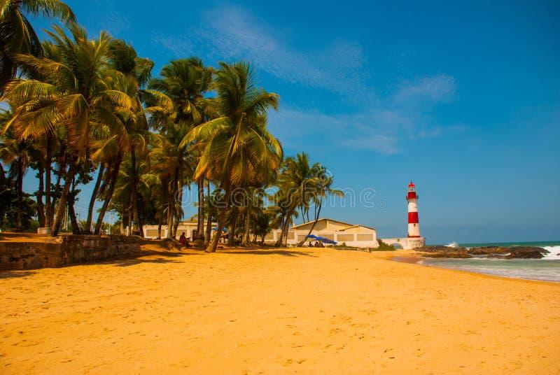 SALVADOR, BAHIA, BR?SIL : Farol De Itapua sur la mer agit?e Paysage tropical sur la plage avec les palmiers et le phare photos stock