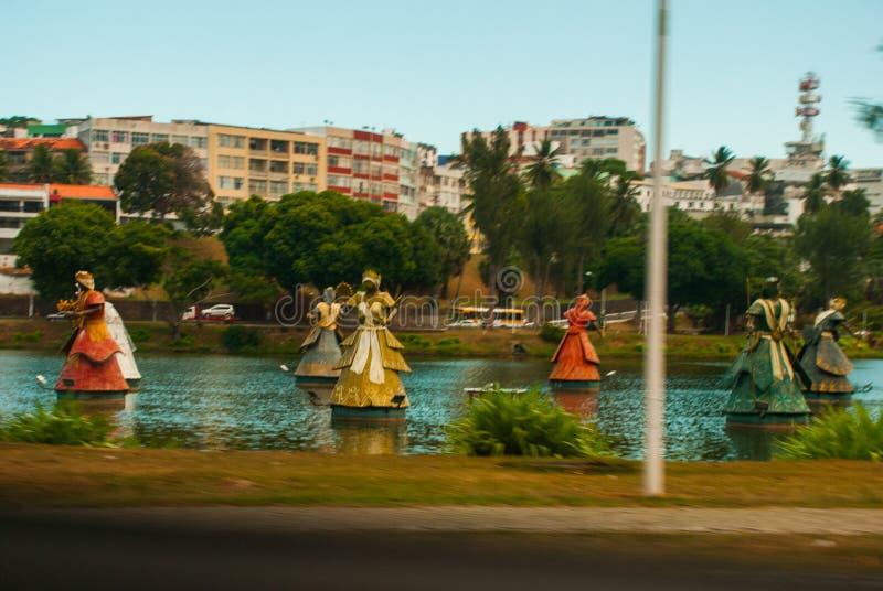 SALVADOR BAHIA, BRASILIEN: orishasspringbrunn i den härliga staden av Salvador i den bahia staten Brasilien h?rligt dimensionellt fotografering för bildbyråer