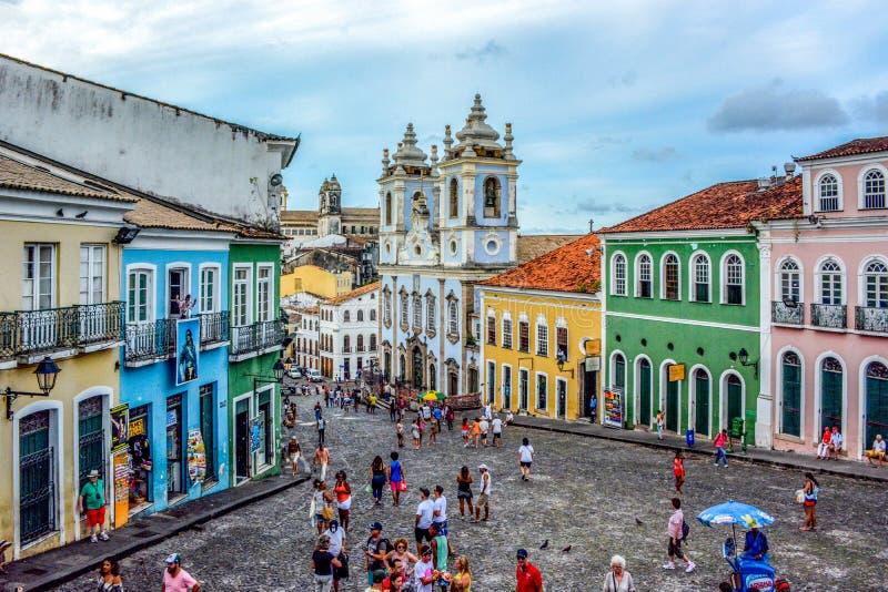 Historic city center of Pelourinho,Salvador,Bahia,Brazil. Salvador, Bahia, Brazil - January 21, 2015: UNESCO World Heritage Site Historic city center of royalty free stock image