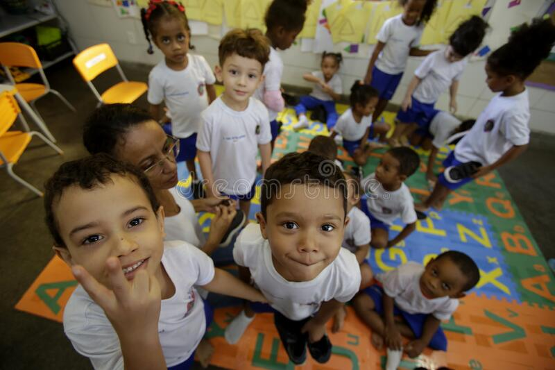 Children in public daycare in salvador. Salvador, bahia / brazil - July 24, 2019: Children are seen in a public nursery in the Dendezeiros neighborhood of stock photo