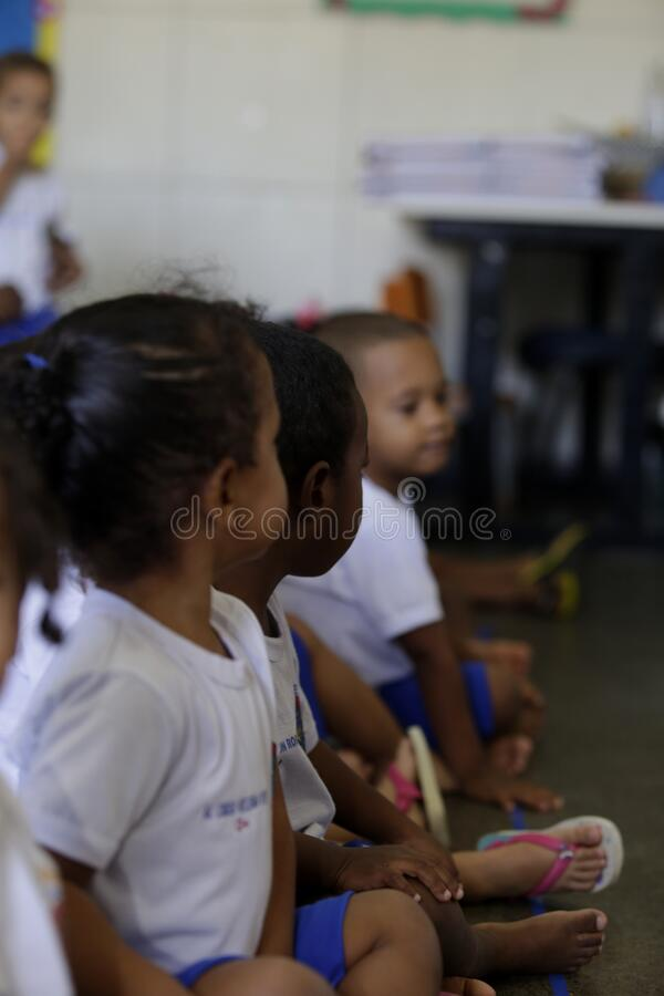 Children in public daycare in salvador. Salvador, bahia / brazil - July 24, 2019: Children are seen in a public nursery in the Dendezeiros neighborhood of royalty free stock image