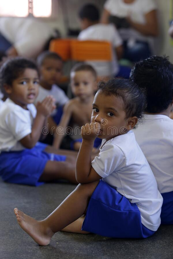 Children in public daycare in salvador. Salvador, bahia / brazil - July 24, 2019: Children are seen in a public nursery in the Dendezeiros neighborhood of royalty free stock photography