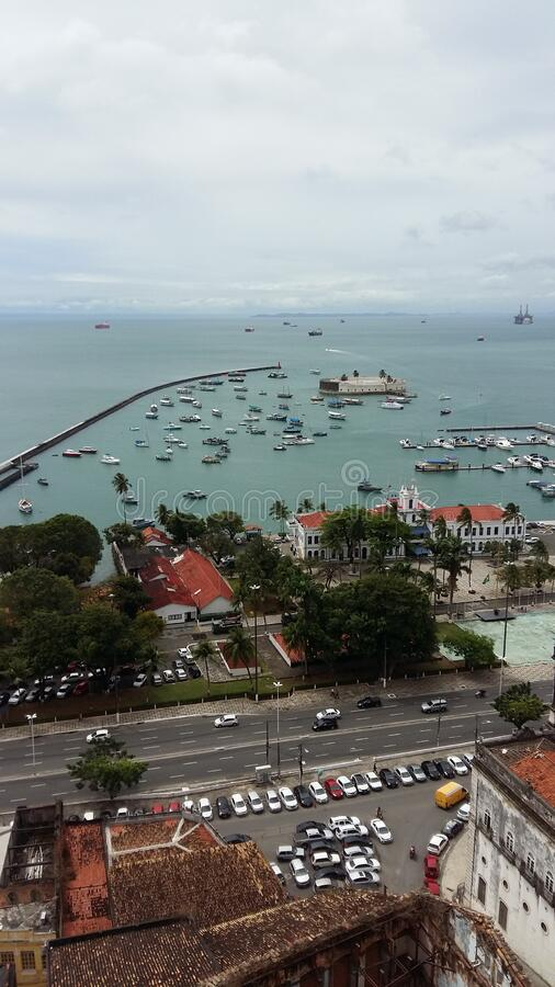 Salvador in Bahia Brazil. A view over the harbor of Salvador in Bahia, Brazil royalty free stock photos