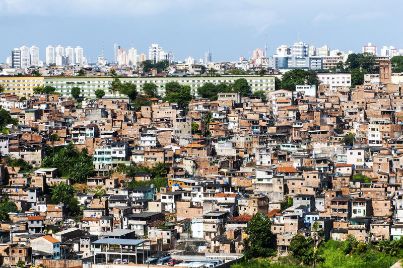 Salvador in Bahia, panoramic view. Poor neighborhood and modern buildings of Salvador Bahia, Brazil stock image
