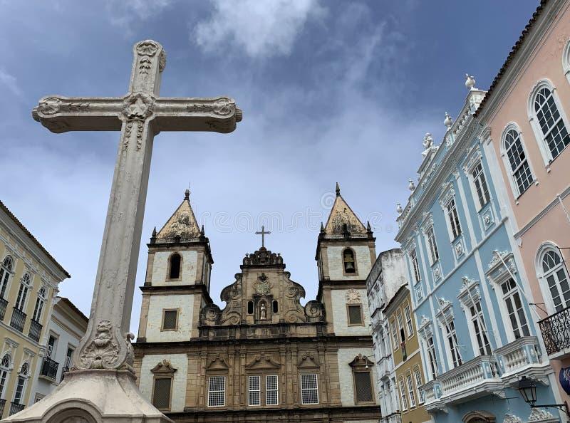 Church of All Saints in Pelorinho, Salvador. Salvador - Brazil August 9, 2019. Church of All Saints in Pelorinho, Salvador royalty free stock photos
