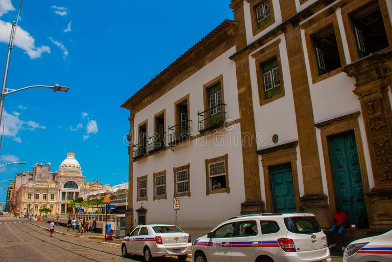 SALVADOR, BRAZIL: downtown street with colorful colonial buildings in the historic tourist area of Pelurinho stock photo