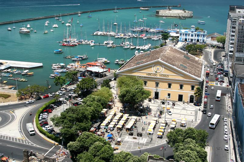 SALVADOR, BRAZIL - January, 2017: Mercado Modelo one of the most famous landmarks in Salvador , view from Elevator Lacerda.  royalty free stock images