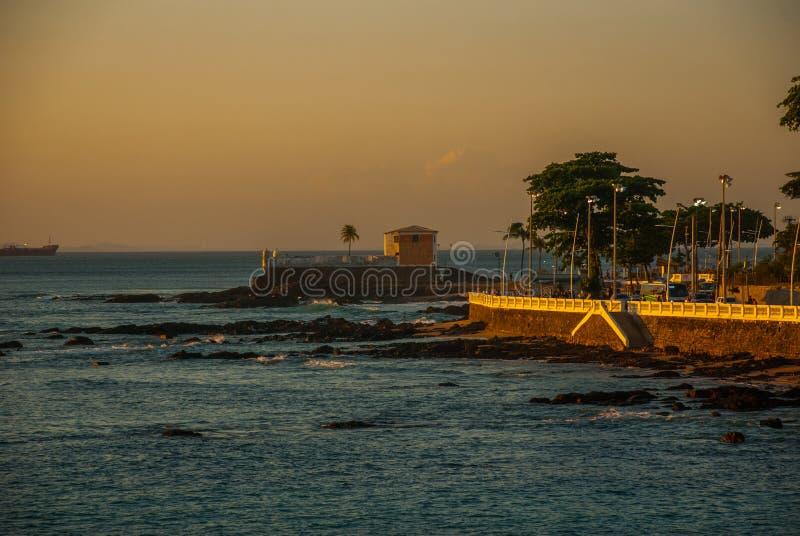 SALVADOR, BRAZILIË: Het koloniale Fort Santa Maria in Barra Salvador Brazil bouwde op tropisch strand met palmen voort royalty-vrije stock afbeeldingen