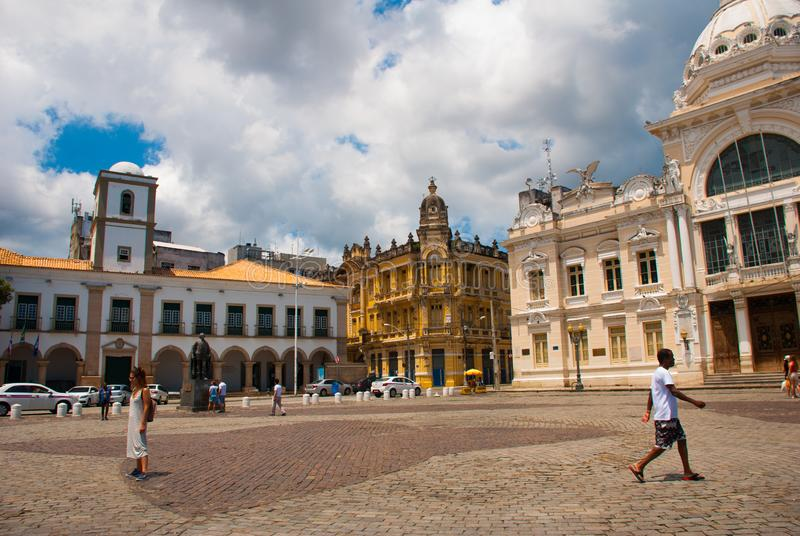 SALVADOR, BRAZILIË: Rio Branco De klassieke bouw in hoger stadssao Salvador da Bahia royalty-vrije stock afbeelding