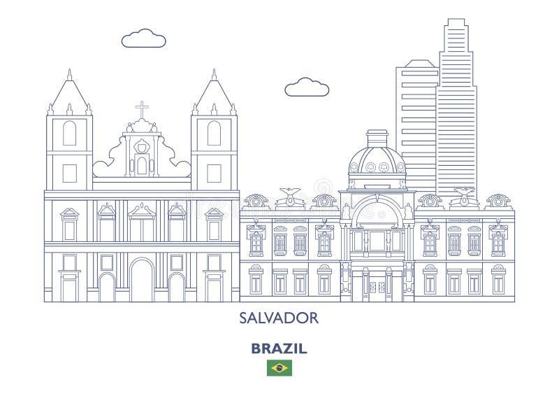 Salvador City Skyline, Brasil ilustração royalty free