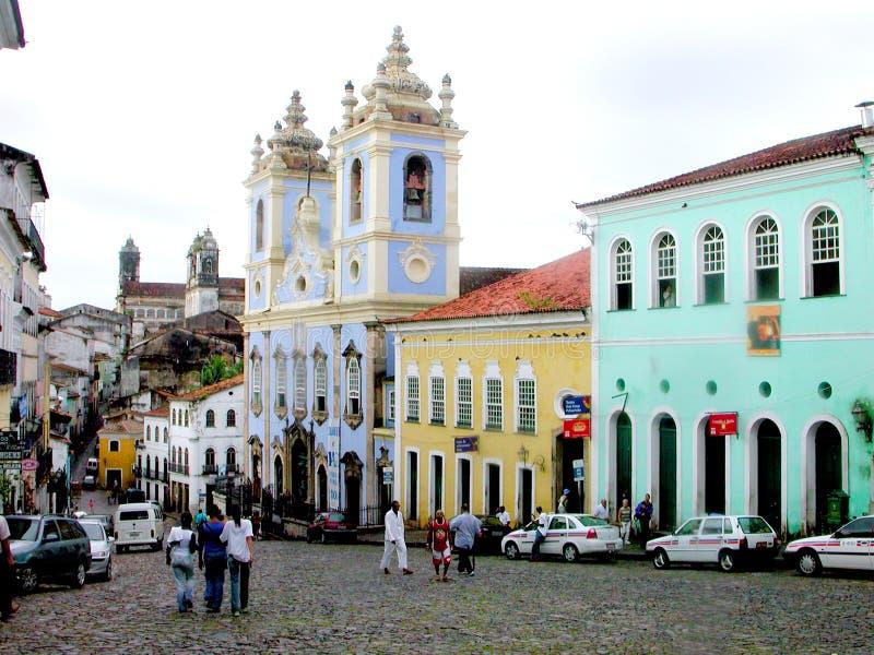 Salvador da Bahia street - Brazil. São Salvador da Bahia de Todos os Santos and known as Bahia or Salvador da Bahia is the largest city and the third-largest royalty free stock photo