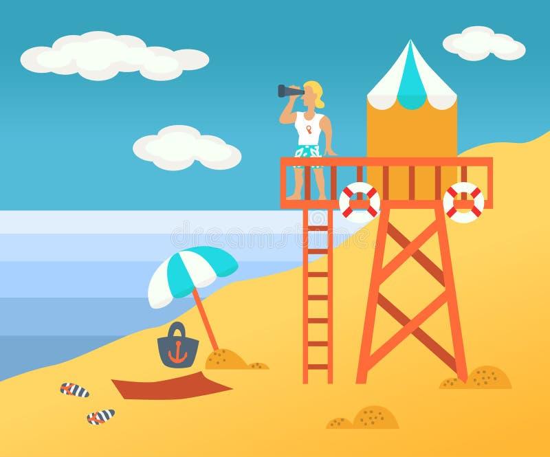Salvador da praia ilustração do vetor